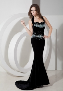 Black Mermaid Halter Brush Train Beaded Prom Pageant Dress