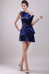 Navy Blue One Shoulder Beading Cocktail Homecoming Dress