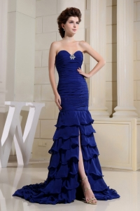 Blue Sweetheart Ruched Bodice For Prom Dress