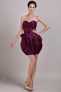 Unique Sweetheart Burgundy Ruch Cocktail Dress