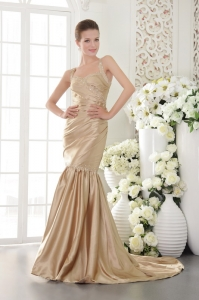 Champagne Mermaid Beaded Evening Pageant Dress