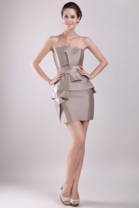 Grey Mini-length Bowknot Cocktail Homecoming Dresses