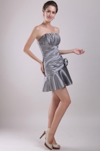Silver Ruched Mini-length Cocktail Homecoming Dress