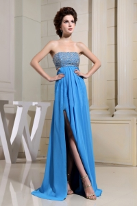 High Slit Bead Bust For Sexy Blue Prom Dress