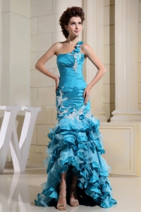 High-low Mermaid Prom Dress Appliques Ruffles