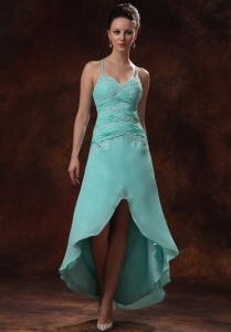 High-low Spaghetti Straps Turquoise Pageant Dress