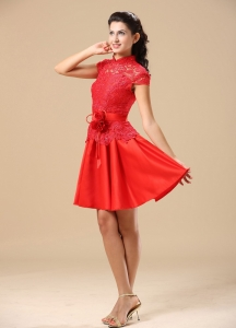 High-neck Red Prom Holiday Dresses With Lace