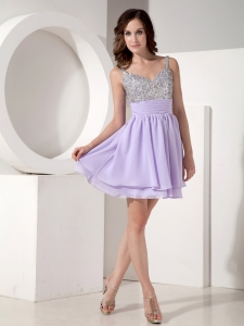 Lilac Mini-length Chiffon Homecoming Cocktail Prom Dress