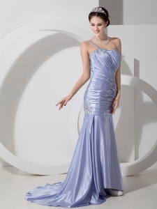 Lilac Mermaid One Shoulder Brush Train Pageant Dress