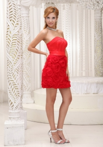 Rolling Flowers Sweetheart Mini-length Prom Dress In Red