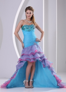 Sequins Multi-color High-low Organza Evening Dress
