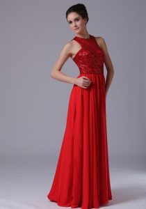 Paillette Bodice High-Neck Empire Pageant Evening Dress