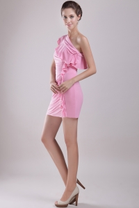 Pink One Shoulder Mini-length Cocktail Graduation Dress