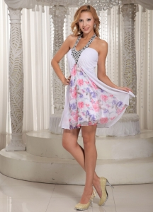 Printed Mini-length Halter Beaded Prom Dress 2013