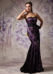 Purple and Black Mermaid Lace Brush Train Celebriy Dress