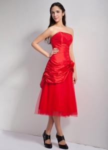 Red Strapless Tea-length Prom Holiday Dresses