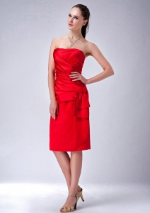 Red Column Strapless Knee-length Prom Holiday Dresses