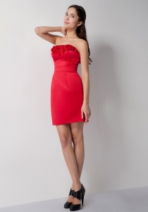 Red Strapless Mini-length Holiday Homecoming Dresses