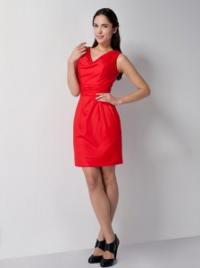 Red V-neck Mini-length Holiday Cocktail Dresses