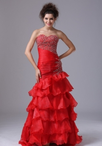 Red Evening Dress Mermaid Sweetheart Floor-length