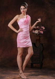 Rose Pink Flowers Decorated Prom Homecoming Dress