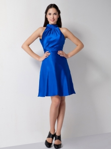 Royal Blue A-line High-neck Knee-length Cocktail Dresses