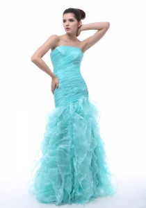 Mermaid Floor-length Aqua Blue 2013 Pageant Celebrity Dress