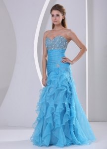 Ruffles Baby Blue Beaded Sweetheart Ruch Evening Gown