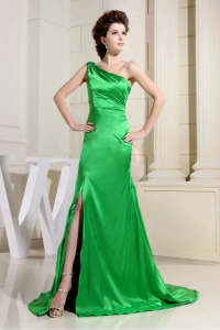 Spring Green Prom Dress One Shoulder Slit Brush Train