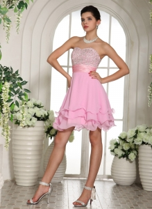 Beaded Knee-length Pink Prom Homecoming Dress