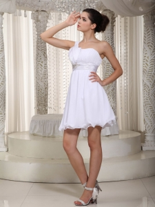 One Shoulder Mini-length White Homecoming Prom Dress