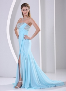 Wholesale Aque Blue Slit Beaded Pageant Evening Dress