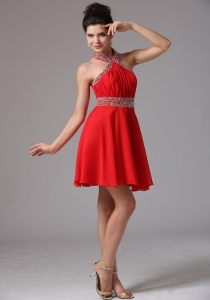 Halter Red Beaded and Ruched Prom Dresses Mini-length