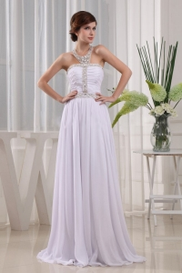 2013 New Style Halter-top Beading White Prom Dress