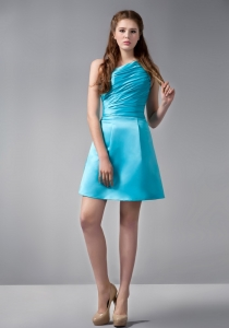 Mini-length Aqua Blue One Shoulder Ruch Graduation Cocktail Dress
