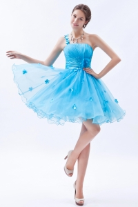 Baby Blue One Shoulder Appliques Cocktail Homcoming Dress