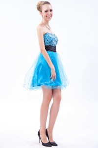 Beading Prom Dresses Baby Blue A-line Strapless Mini-length