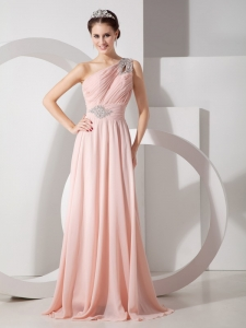 Baby Pink One Shoulder Beading Evening Pageant Dress