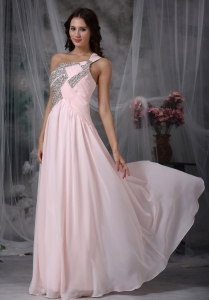 Silver Beads Baby Pink One Shoulder Evening Dress