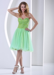 Sweetheart Beaded Bust Green Knee-length Cocktail Dress