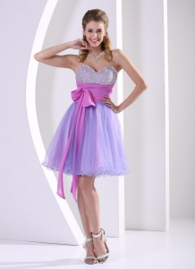 Beaded Sweetheart Lavender and Lilac Prom Dress With Sash