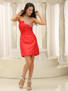 Beaded Ruched Mini-length Red Cocktail Prom Dress