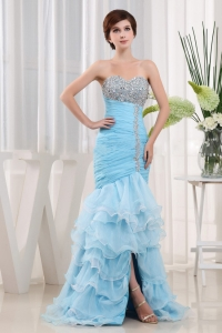 Chic Mermaid Baby Blue Layered Prom Dress For Party