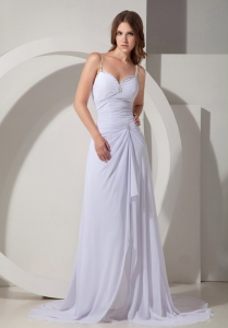 Column White Chiffon Beading Court Train Evening Dress
