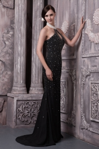 Halter Brush Train Black Beaded Prom Evening Dress