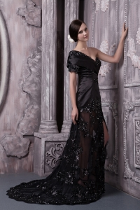 One Shoulder Black Brush Train Lace Beading Prom Evening Dress