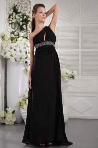 One Shoulder Black Prom Dress With Beaded Waistband