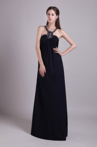 Halter Beading Black Evening Celebrity Dress