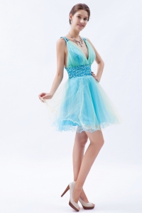 Blue V-neck Sequins Cocktail Homecoming Dress