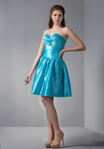 Blue A-line Sweetheart Mini-length Beading Prom Graduation Dress